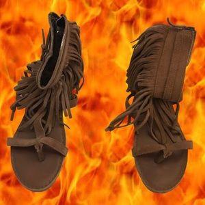 Koolaburra Brown Fringe Suede Sandals